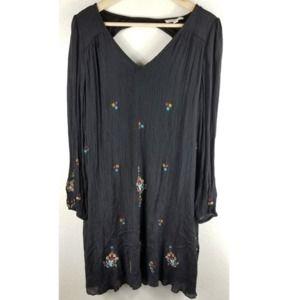 Rebellion Embroidered Black Dress SZ L